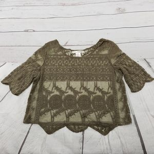 Say What Crop Top Size Small Lace Embroidered Used